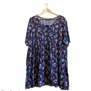 Blue Tunic Length Shirt with Flower Pattern - 3X